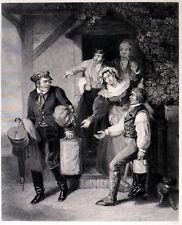Tacaño Traveller 1845 Robert William Buss-Joseph Marrón Grabado victoriano