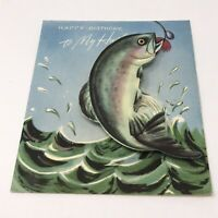 Vintage Happy Birthday To My Husband Card Fisherman Greetings Paper 1960s