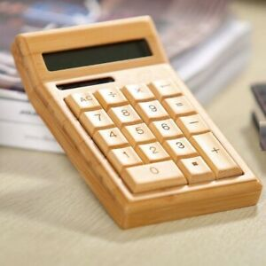 Bamboo Calculator Compact Portable DualPower Solar Battery Eco sustainable