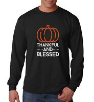 Long Sleeve Thankful and Blessed Shirt Pumpkin T-Shirt Thanksgiving Christmas