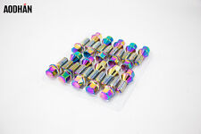 20Pc 12X1.25 Aodhan Lb55 28Mm Lug Bolts Neo Chrome Fit Fiat 500 2009 2010-2012
