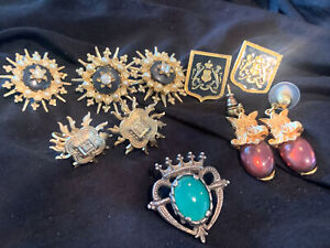 Vintage Jewelry Crest King Shield Scottish Celtic Signed MIRACLE Brooch Pin LOT