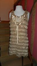 Small Sleeveless Faux Fur Pile Body Con Mini Dress in Variated Beige by Li Las
