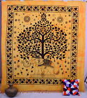 Indian Cotton Elephant Tapestry Tree of Life Wall Hanging Hippy Coverlet Throw