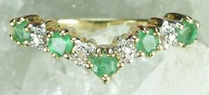NEW Genuine Solid Yellow Gold Real Natural Emerald Diamond Wishbone Guard Ring M