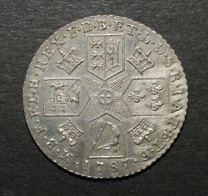 GEORGE III 1787 SHILLING. NO HEARTS
