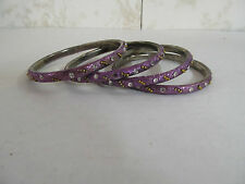 Set of 4 Bangle Bracelets Made in India Purple in Color with Jewel Adornments