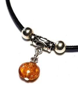 Black Genuine Leather Choker Orange Goldsand Glass Bead Necklace Pendant Gypsy