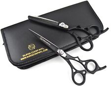 "6"" Professional Barber Hairdressing Scissor Thinning & Haircutting Shears Black"