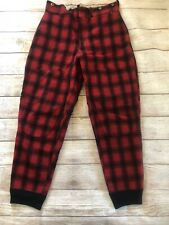 Vintage Woolrich Red Buffalo Plaid  Wool Outdoor Hunting Pants 32 x 30