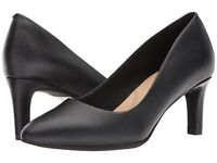 Womens Shoes Clarks CALLA ROSE Leather Closed Toe Pump 31857 Black Leather *New*