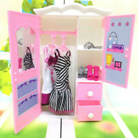 Princess bedroom furniture closet wardrobe for dolls toys girl  gifts IO