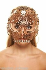 Day of The Dead Rose Gold Full Face Skull Venetian Laser Cut Masquerade Mask