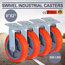 4 X Heavy Duty Swivel Casters Polyurethane Wheel Scaffold 8''x2'' W/ Side Brake
