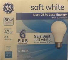 6 GE 43-Watt/60-Watt Output Soft White A19 Medium Base Light Bulbs - 700 Lumens