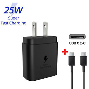 For Samsung Galaxy S21 S20 Note20 Ultra 25W Super Fast Wall Charger Type-C Cable