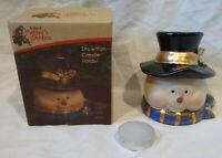 Kirkland's Potter's Garden Snowman Candle Holder-Ceramic/Tea Light/Top Hat-4.5""