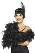 LADIES 1920s BLACK 80g FEATHER BOA WOMENS BURLESQUE GATSBY FANCY DRESS NECKPIECE