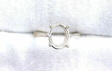 Sterling Silver 10x8 10mm x 8mm Oval Gemstone Gem Ring Prenotched Mounting Sz 7
