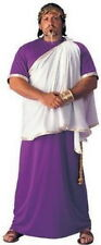 Roman Toga Costume Julius Caesar Purple Robe Wht Drape & Cord Belt Plus Size