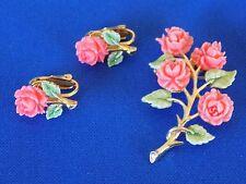 Carved Pink Roses Brooch Pin & Clip On Earrings Vintage JJ Jonette Jewelry