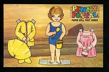 Dolls postcard Penny Postal Visits Ocean C33063 Paper Doll Art by Susan Cockrell