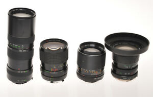 Minolta MD/MC, small selection of 4 lenses various brand, untested sold as is