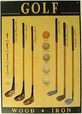 Wholesale Stock Set of 25 Golf Wood and Iron Clubs Golfing Metal Signs