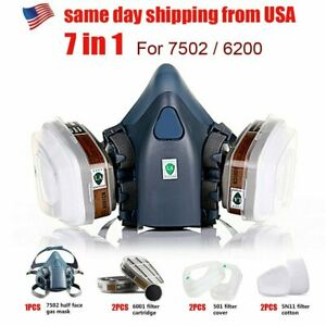 7 IN 1 Half Face Mask for 6200 / 7502 Gas Painting Spray Protection Respirator