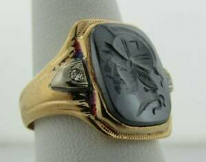 Hematite Intaglio Cut Knight's Head Diamond 10K Yellow Gold Ring Men's sz 6.5  0