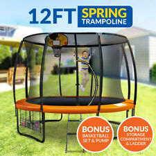 New 12ft Trampoline Basketball Set Free Ladder Spring Net Safety Pad Cover Round