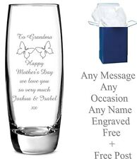 Personalised Engraved Vase Glass Bridesmaid Mother of The Bride Wedding Gift
