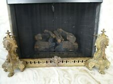 Antique Northern French Andirons Fireplace Fender Set