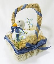Porcelain swan country in basket 1980 made in taiwan home decor