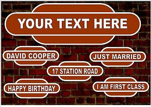 Railway Reproduction  Metal Sign  Personalised Reproduction Railway Style Sign