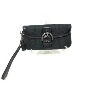 Coach Black Nylon Quilted Embroidered Logo Wristlet Purse Bag Clutch Wallet