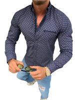 Megaman Herren-Hemd Slim-Fit Stretch Langarm-Hemden Freizeit Business Dunkelblau