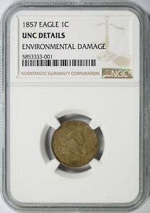 1857 Flying Eagle Cent 1c NGC UNC Details - Environmental Damage