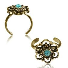 Synthetic Turquoise Mid-Ring Boho Gypsy Solid Brass Tribal Toe Ring Mandala