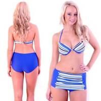 High Waisted Bikini Swimwear Size 8 10 12 16 Blue Retro Boyleg Bathers Swimsuit