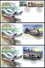 2002 Malaysia Trains Express Rail Link 3v + 2 MS on 3 FDC (Kuala Lumpur Cachet)