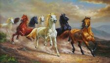 Animals Eight Horses Oil painting Picture Printed on canvas 20x30 Inches
