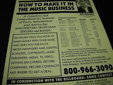 JIM HALSEY How To Make It In The Music Business seminar schedule 1993 PROMO AD