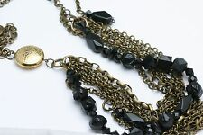 NEW Brass & Black Stone Multi layer chain Necklace Tami long Made in Israel