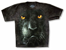 "THE MOUNTAIN ""PANTHER"" FACE BLACK TIE DYE T-SHIRT OFFICIAL ADULT MEDIUM CAT NEW"