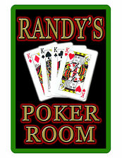 Personalized KINGS POKER ROOM Sign with YOUR NAME GLOSS ALUMINUM VIVID COLOR 412