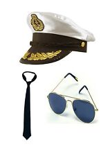 Sailor Captain Nautical Navy Fancy Dress Costume Kit Accessory P10277