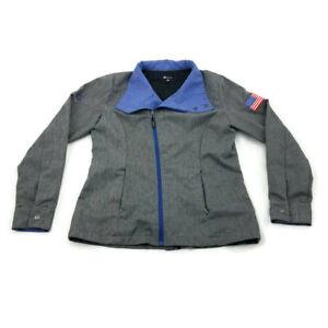 Microsoft MSUS USA Employee Gray LS Asymmetrical Zip Up Jacket Unisex M