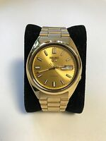 Seiko 5 Automatic Mens Watch Gold Plated Skeleton Back SNXS80K UK Seller