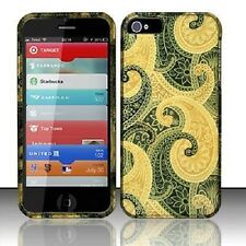 For iPhone 5 5S SE Rubberized HARD Protector Case Snap Phone Cover Brown Swirl